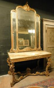 specc273 - richly decorated console with mirror, cm l 141 xh 270