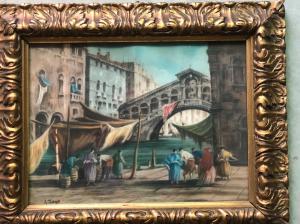Dipinto pastello raffigurante scena veneziana.Luigi Zago.( Villafranca 1894-Mendoza 1952)