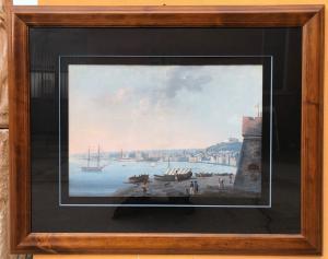 pintura em guache (aquarela) representando o Golfo de Nápoles, com Castel dell'Ovo e Certosa di San Martino.