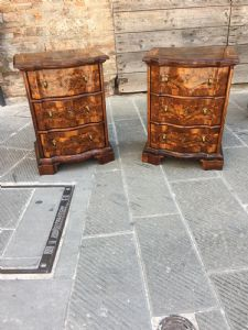 Maravilloso par de muebles de nogal y nogal briarwood en la parte delantera. Sigeto del siglo XVIII