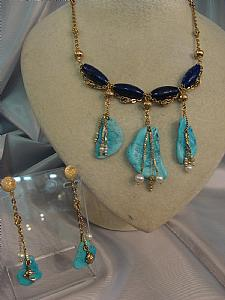 Sets in turquoise and lapis lazuli - Unique piece