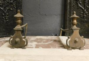 al218 - par de pontas de asas com xícaras do século XIX, medindo 9 x 18 cm
