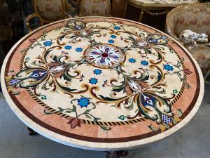Tisch aus Marmor und Schmiedeeisen 183 Durchmesser 80h