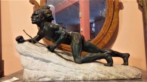 Antimony sculpture on an Art Nouveau vintage stone base