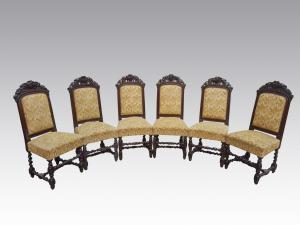 Six eclectic oak chairs carved in the second half of the nineteenth century