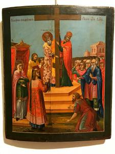Icon depicting the exaltation of the cross - lot 8