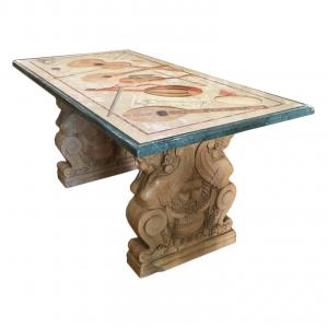 TABLE IN MARBLE AND TASTE OF TASTE RENAISSANCE FLORENCE LATE 19TH CENTURY
