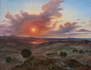 Paisaje al atardecer, siglo XIX