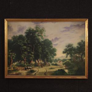 Paisagem rural italiana pintura a óleo sobre tela