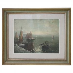Dipinto olio su tela marina con pescatori, quadro firmato, sec. XX PREZZO TRATTABILE