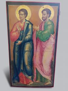 "Icon - egg tempera on wood with a gold background depicting ""two Saints chosen: Santo Stefano Protomartire and San Paolo Apostolo delle genti"""