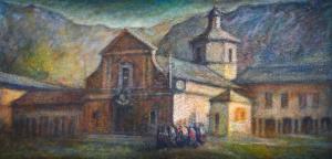 """Silvano Magliola在画布上的"""" Santuario d'Oropa""""混合媒体,Silvano Magliola在画布上的"""" Santuario d'Oropa""""混合媒体"""