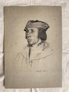 Pencil drawing on paper with the face of a young Renaissance man from Achille Briani, Bologna.
