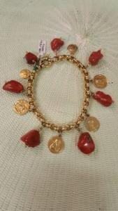 Antique gold charms bracelet