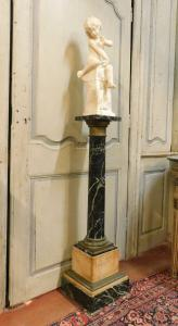 dars398 - colonna in marmo verde alpi e ottone, cm l 30 x h 111