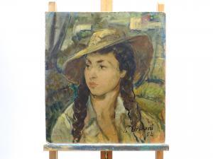 Ritratto di ragazza con cappello, dipinto ad olio, Piero Urbani 1952