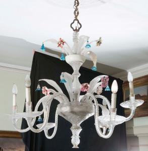 Lampadario in vetro Venezia sec. XIX con sei punti luce