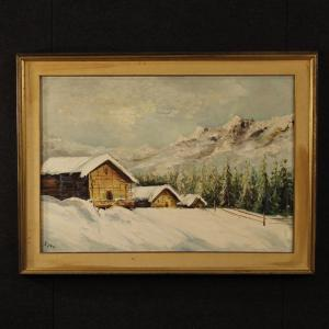 Italian painting oil on canvas snowy landscape with houses