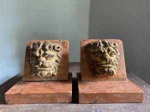Lions bookends in marble and wood