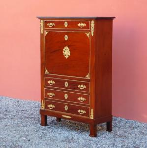 Secretaire with calatoia as a writing desk, 4 drawers, mahogany, marble top, 800!