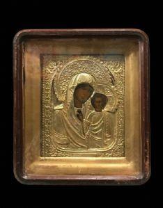 Magnifica icona di Nostra Signora di Kazan con Kiot originale - Russia, XIX secolo