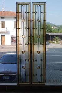 Par de vidro de catedral ligado a chumbo no início dos anos 1900