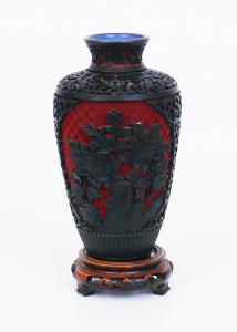 Киноварная лаковая ваза - AH / 1047