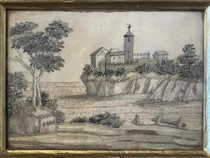 Small silk embroidery depicting landscape