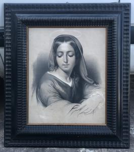 Stampa con cornice raffigurante la Madonna.Francia.