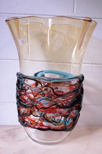Vaso de vidro Murano assinado com certificado de Sergio Costantini