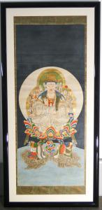 Dipinto raffigurante Kannon Bosatsu Avalokitesvara bodhisattva, Guanyin, pittura su carta applicata a tela. Giappone, Ottocento