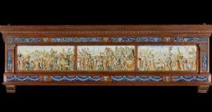 Capolavoro in ceramica istoriato raffigurante IL TRIONFO DI CESARE Firmato MOLARONI PESARO Cm.350x108