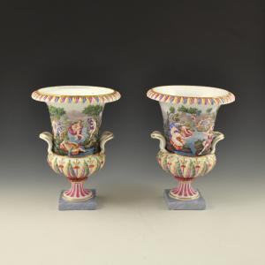 Coppia di vasi medicei a bassorilievi istoriati da <I>Le Metamorfosi</I> di Ovidio <br>Manifattura Ginori, Doccia (Firenze), seconda metà '800