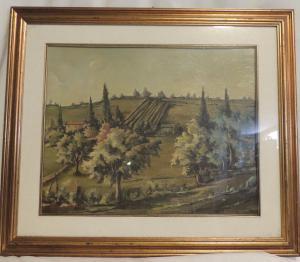 Colinas toscanas pintura por V. Benigno
