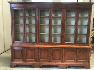 6-door bookcase in fir wood 210x46x245h