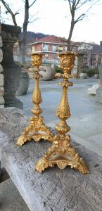 Two gilded bronze candlesticks