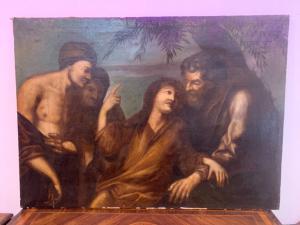 Pintura antigua sobre lienzo que representa a Cristo entre los discípulos del siglo XVII 97 x134 cm