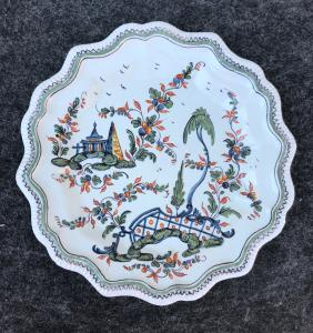 Plate in majolica, decoration on the 'bridge', Manifattura Antonibon, Nove of Bassano