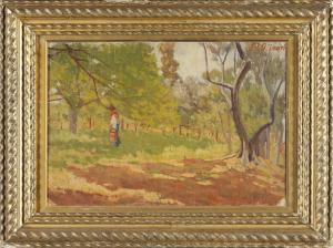 """Eugenio Olivari (Genoa 1882 - 1917) """"Among the olive trees"""" oil on canvas signed top right"""