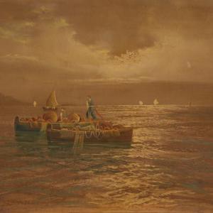 签名画作,小船和渔民码头