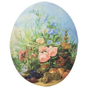 Set di 4 dipinti ovali provenienti dai pannelli di una boiserie.