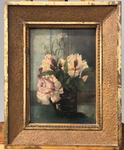 Dipinto olio su tavola con vaso di fiori.Firmato.