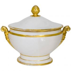Antique porcelain centerpiece with gold