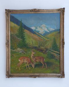 Paesaggio di montagna con  caprioli