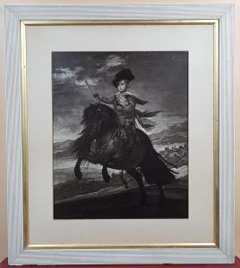 ALTER DRUCK Reiterporträt von Prinz Balthasar Charles von Diego Velazquez
