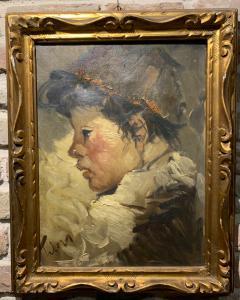 Óleo sobre lienzo que representa a un niño.
