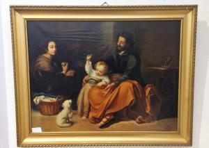 在帆布raff的古色古香的油画。熟悉的场景,西班牙语学校,19世纪中叶