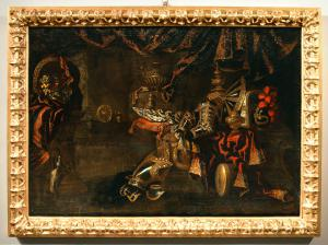 Natureza morta com armadura, objetos preciosos e frutas, Antonio Tibaldi (Roma, c. 1635 - pós 1675)