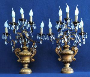 Coppia di appliques 5 luci in legno, cristallo e metallo - Francia XIX sec.
