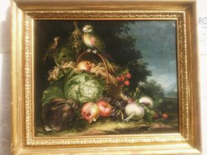 静物与鹦鹉,兔子,蔬菜和水果
